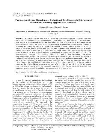 Bioequivalence evaluation of omeprazole 20-mg capsules - aensi