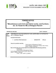 """TENDER NOTICE For """"Miscellaneous work Civil and ... - IIM Ranchi"""
