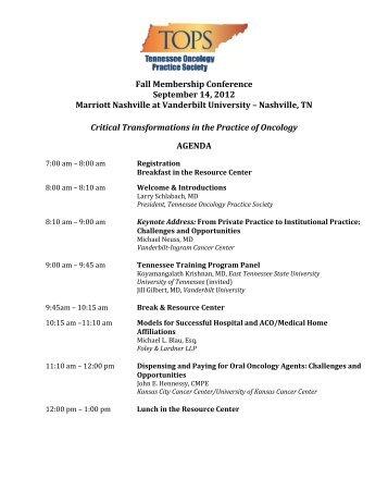 Fall Membership Conference September 14, 2012 Marriott Nashville ...