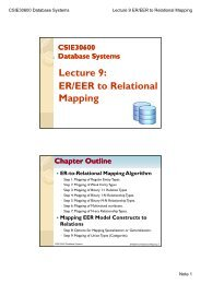 Lecture 9: ER/EER to Relational Mapping