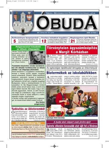 Óbuda újság 2008/19. szám - Óbuda-Békásmegyer