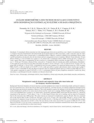 análise morfométrica dos tecidos muscular e conjuntivo ... - Crefito