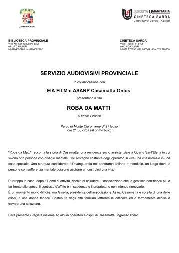 Comunicato [file .pdf] - Biblioteca Provinciale di Cagliari