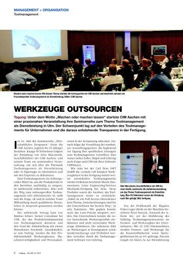 Werkzeuge outsourcen - CIM Aachen