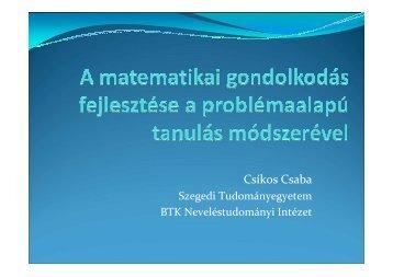 A matematikai gondolkodás fejlesztése a problémaalapú tanulás ...