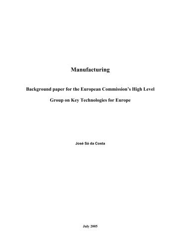 Manufacturing. Background paper for the European ... - Madri+d