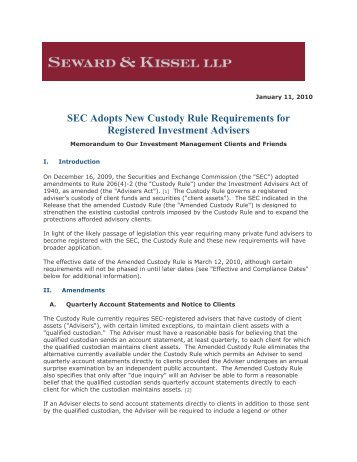 SEC Adopts New Custody Rule Requirements for Registered ...