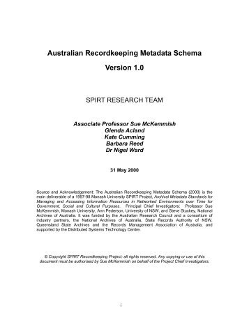 Australian Recordkeeping Metadata Schema, Version 1 - Faculty of ...