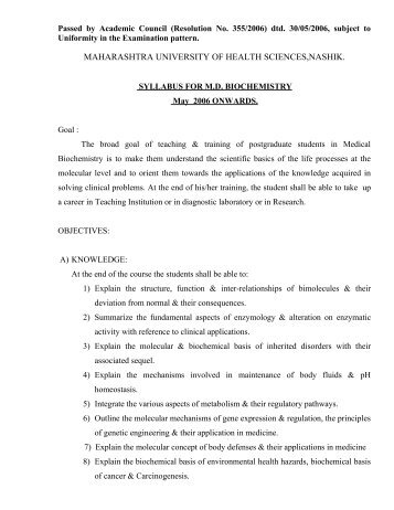 Proposed Syllabus For M - Maharashtra University of Health Sciences