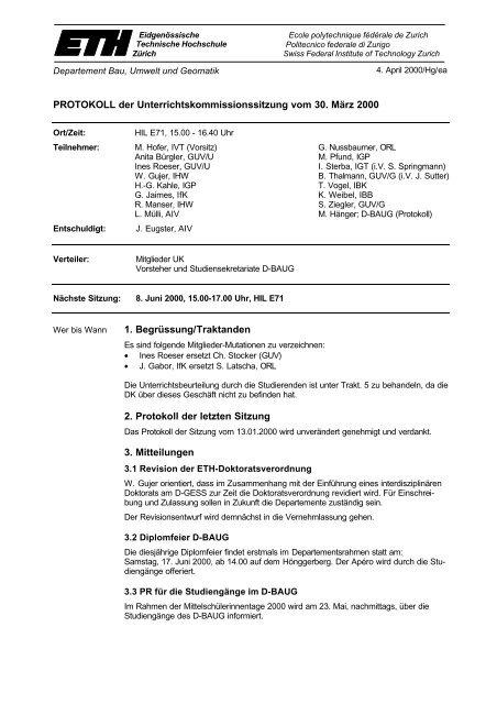 Sitzung 2/00 vom 30.03.00 - Departement Bau, Umwelt und Geomatik
