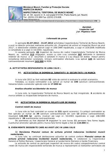 08.08.2012 - Inspectoratul Teritorial de Muncă Neamţ