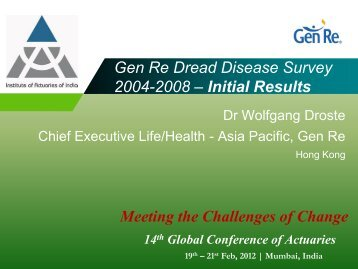 Highlights from the latest 2004 - 2008 Dread Disease Survey