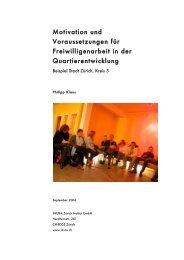 Motivation und Voraussetzungen für Freiwilligenarbeit in der ...