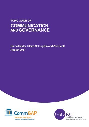 Topic Guide on Communication and Governance - World Bank ...