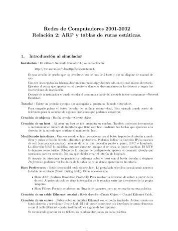 Redes de Computadores 2001-2002 Relación 2: ARP y tablas de ...