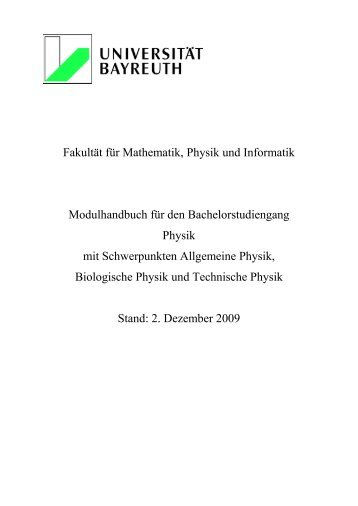 Modulhandbuch für den Bachelorstudiengang Physik mit ...