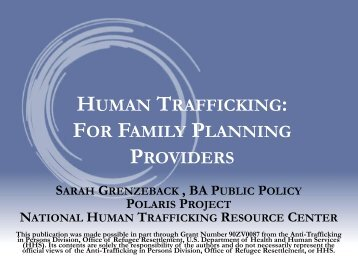 HUMAN TRAFFICKING: FOR FAMILY PLANNING PROVIDERS