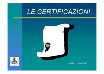Le Certificazioni - OMCeO Sassari