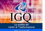 La qualità dei Centri di Trasformazione - Sismic