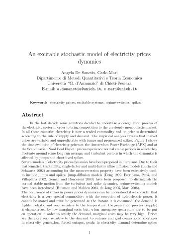 An excitable stochastic model of electricity prices dynamics