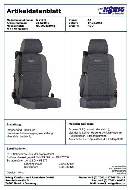 Artikeldatenblatt K 210 G - König Komfort- und Rennsitze GmbH