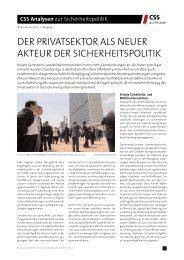 Der PrivatSektor alS Neuer akteur Der SicherheitSPolitik - Center for ...