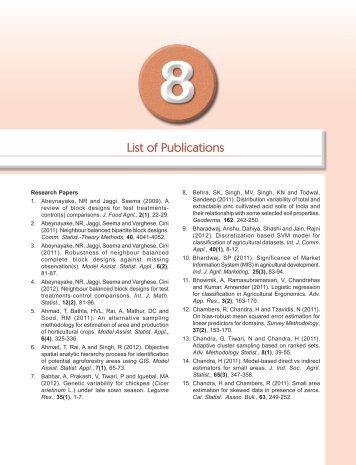 List of Publications - IASRI