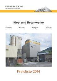 Preisliste 2014 PDF - Kieswerk ELA AG