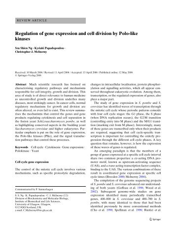 Regulation of gene expression and cell division by Polo-like kinases