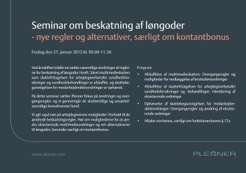 Seminar om beskatning af løngoder - Plesner