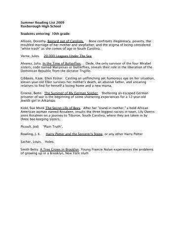 Summer Reading List 2009 - Free Library of Philadelphia