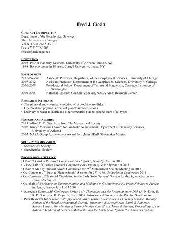 Fred J. Ciesla - Geophysical Sciences - University of Chicago