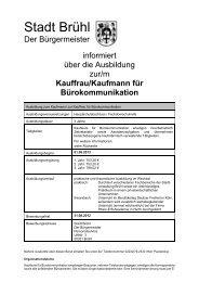 Info über die Ausbildung Kauffrau/-mann für ... - Stadt Brühl