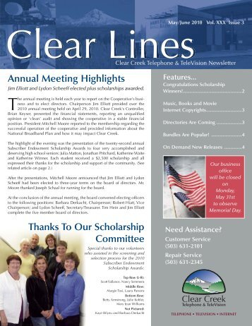 May/June 2010 Clear Lines - Clear Creek Communications