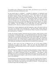 History of Fairmont's Triathlon - Fairmont, Minnesota