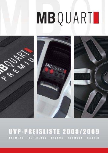 01 Preisliste MB Quart 2008 UVP - Audio Design GmbH
