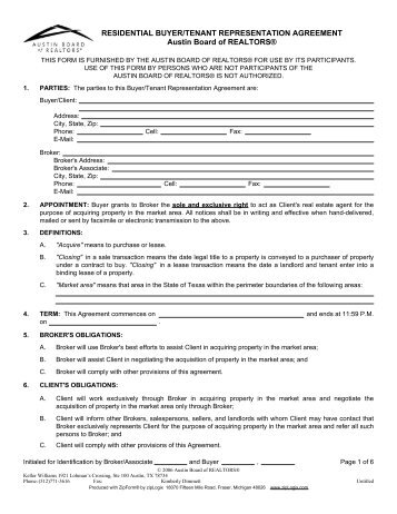 Residential Buyer Tenant Representation Agreement