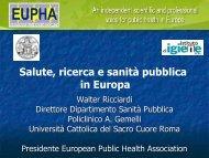 Salute, ricerca e sanità pubblica in Europa