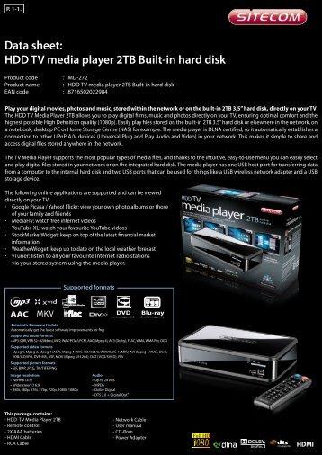 Data sheet: HDD TV media player 2TB Built-in hard disk - Icecat.biz
