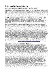 Nein zu Studiengebühren - VSS-UNES-USU