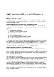 Department Guidance on Controlled Assessment - Oswestry School