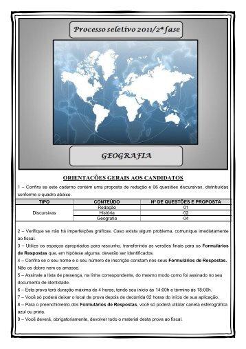 prova 2 fase: geografia - Universidade Federal do Amapá