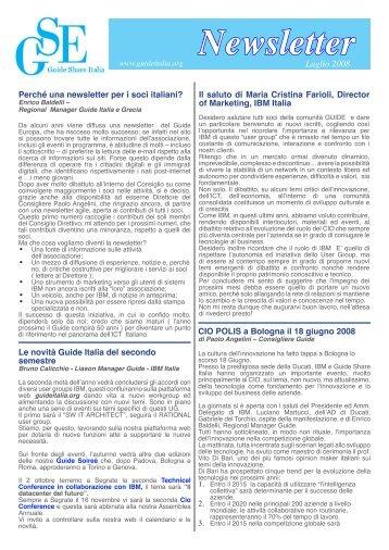 Newsletter luglio 2008 - Guide Share Italia