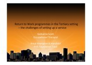 Return to Work programmes in the Tertiary setting ... - Nwlcn.nhs.uk