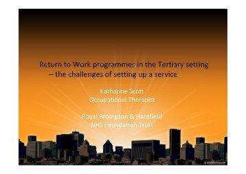 Return to Work programmes in the Tertiary setting ... - Nwlcn.nhs.uk