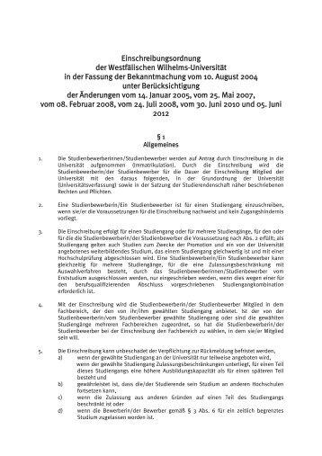 Einschreibungsordnung - Westfälische Wilhelms-Universität Münster