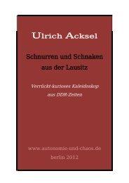 Ulrich Acksel Schnurren und Schnaken aus der Lausitz