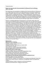Presseinformation Beginn der Internationalen Sommerakademie für ...