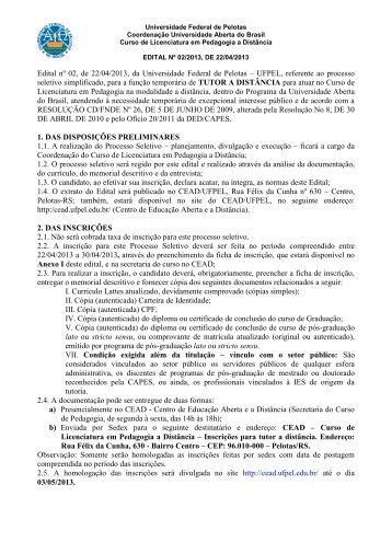 EDITAL Nº 02/2011 - FPELE - Universidade Federal de Pelotas