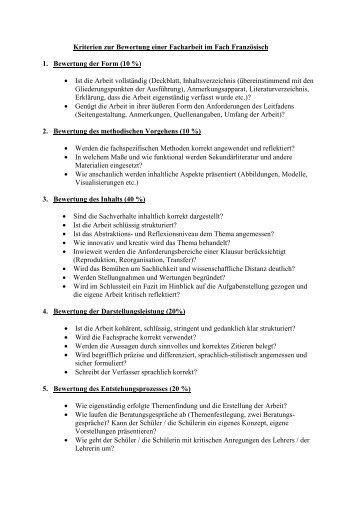 Kriterien Zur Bewertung Einer Facharbeit Sowi Städtisches